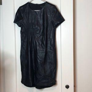 Banana Republic Black Leather Short Sleeve Dress